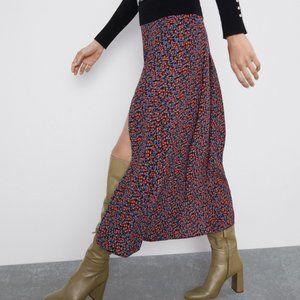 Zara FLORAL PRINT SKIRT WITH VENTS-black-7563/245-